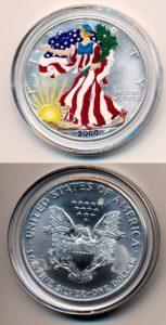 Verenigde Staten 2000 1 dollar zilver en gekleurd