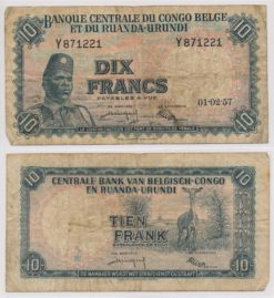 Belgie Congo 1955 - 1959 10 Francs bankbiljet