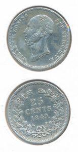 Nederland 1849 25 cent Willem II