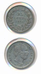Nederland 1890 25 cent Type A Willem III