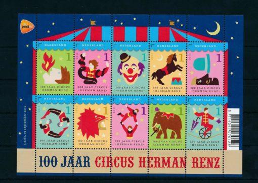 Nederland 2011 Circus Herman Renz velletje  NVPH 2868-77 1