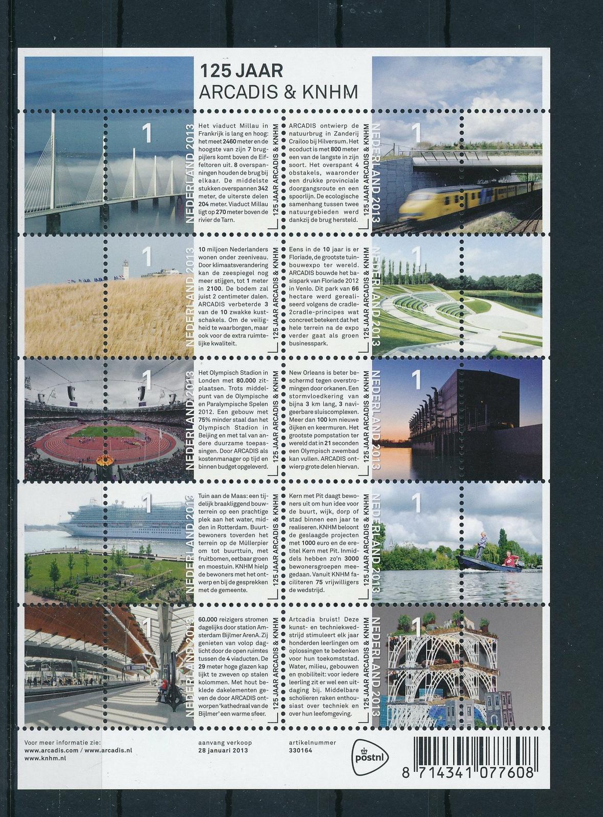 Nederland 2013 Arcadis/Heidemij velletje  NVPH 3016-25