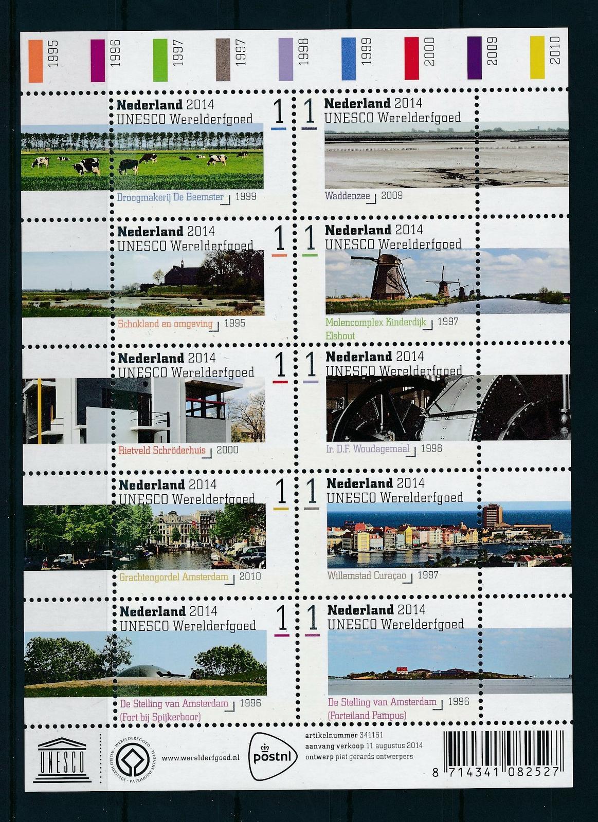 Nederland 2014 Unesco Werelderfgoed velletje  3209-18