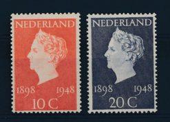 Nederland 1948 50-jarig regeringsjubileum Koningin Wilhelmina NVPH  504-05