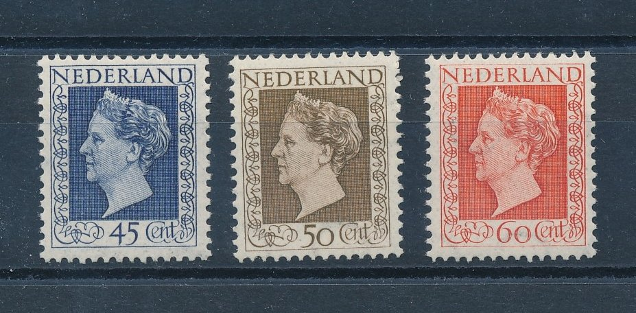 Nederland 1948 Frankeerzegels Koningin Wilhelmina 'Hartz' 3 waarden gewijzigde tekening NVPH 487-89