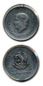 Mexico 1952 5 pesos met oogje