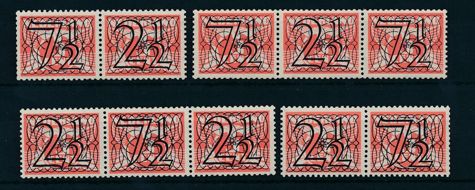 Nederland 1940 Frankeerzegels Tralie, 4 combinaties NVPH 356a-356d
