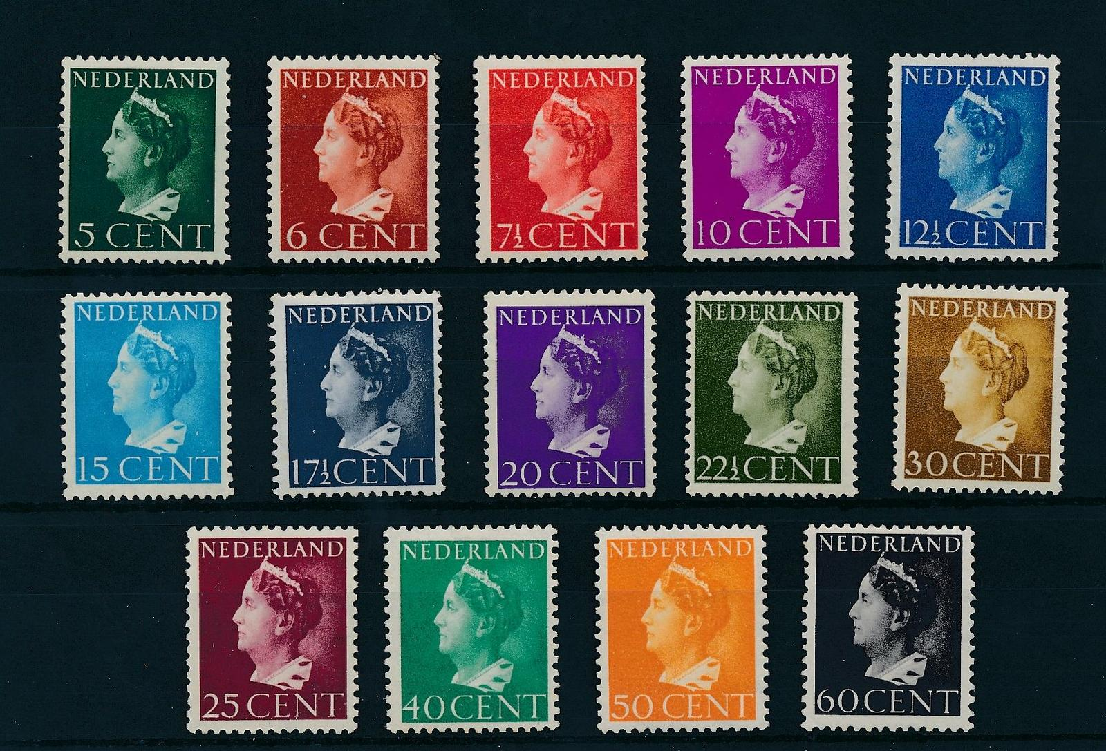 Nederland 1940-47 Frankeerzegels Koningin Wilhelmina 'Konijnenburg' 14 ' lage waarden NVPH 332-45