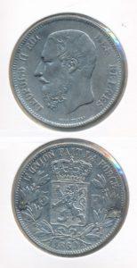 Belgie 1869 5 francs gemonteerd