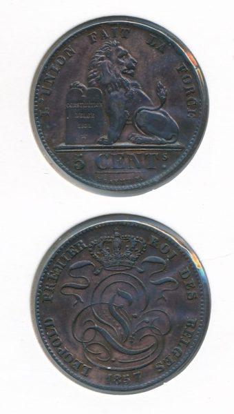 Belgie 1857 5 cent 1