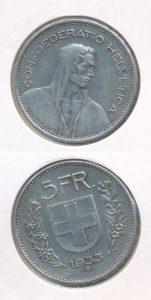 Zwitserland 1933 5 franc