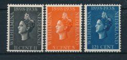 Nederland 1938 40 jarig regeringsjubileum Koningin Wilhelmina  NVPH 310-12