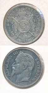 Frankrijk 1870 Napoleon III 5 franc