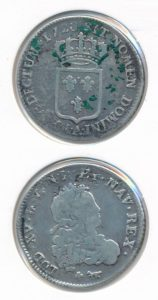 Frankrijk 1720 doordruk/misslag 1/3 ecu