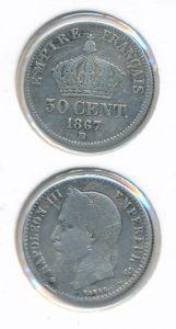 Frankrijk 1867 BB 50 cent