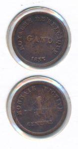Belgie Gent 1833 Monnaie Fictive 1 cent