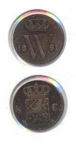 Nederland 1861 0,5 cent Willem III