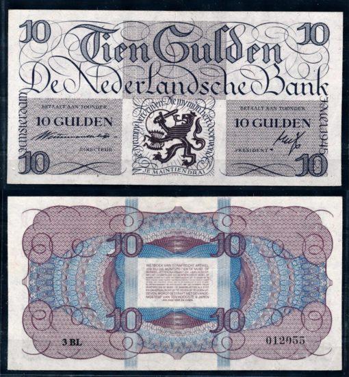 Nederland 1945 10 Gulden Lieftinck tientje bankbiljet 1