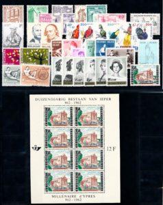 Belgie 1962 Complete jaargang postzegels postfris