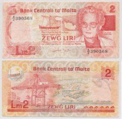 Malta 1986 2 Liri bankbiljet