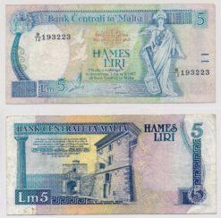 Malta 1967 5 Liri bankbiljet