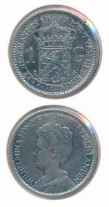 Nederland 1917 1 Gulden Wilhelmina met randbeschadiging