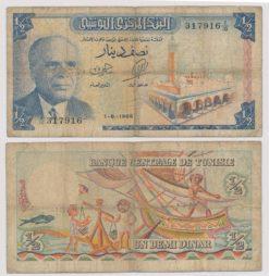 Tunesie 1965 halve Dinar bankbiljet