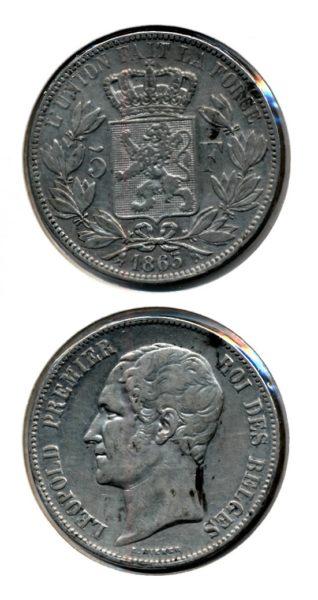 Belgie 1865 5 francs 1