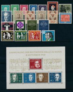 Duitsland Bondsrepubliek 1959 Complete jaargang postzegels postfris