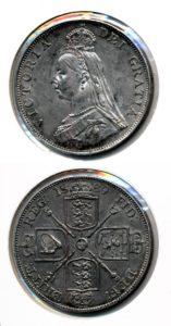 Groot Brittannie 1889 2 florin