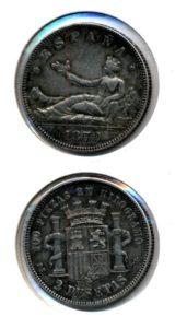 Spanje 1870 2 pesetas