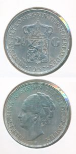Nederland 1937 2,5 Gulden Wilhelmina
