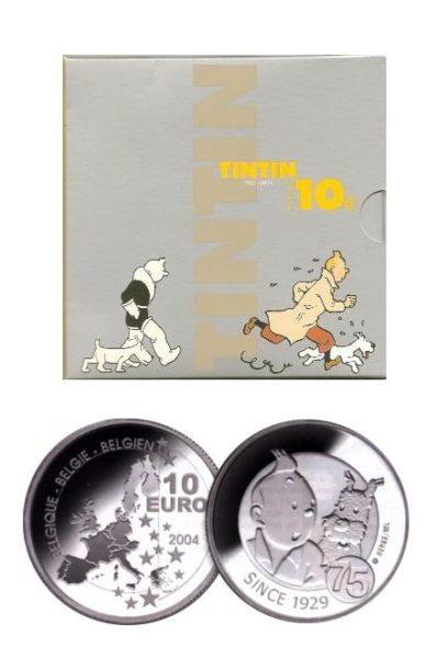 Belgie 2004 10 Euro zilver kuifje in blister  1