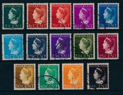 Nederland 1940-47 Koningin Wilhelmina Konijnenburg lage waarden  NVPH 332-45