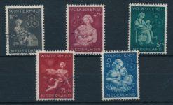 Nederland 1944 Winterhulp-Volksdienstzegels  NVPH 423-27