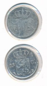 Nederland 1825 B 25 cent Willem I