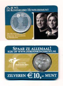 Nederland 2002 10 Euro Huwelijksmunt coincard
