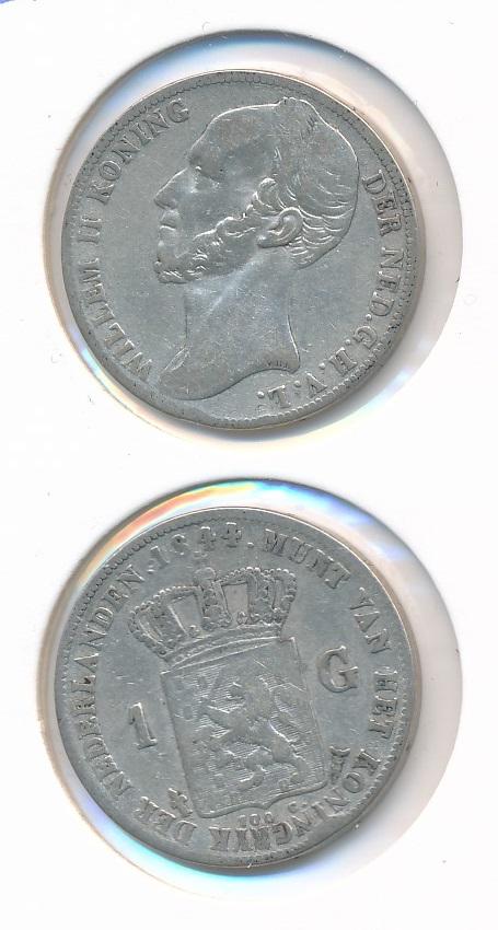 Nederland 1844 1 Gulden Willem II