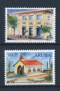 Aruba 2000 Gecombineerde uitgifte 75 jarig bestaan John Eman bank 250 jarig bestaan kapel Alto Vista NVPH 249-50