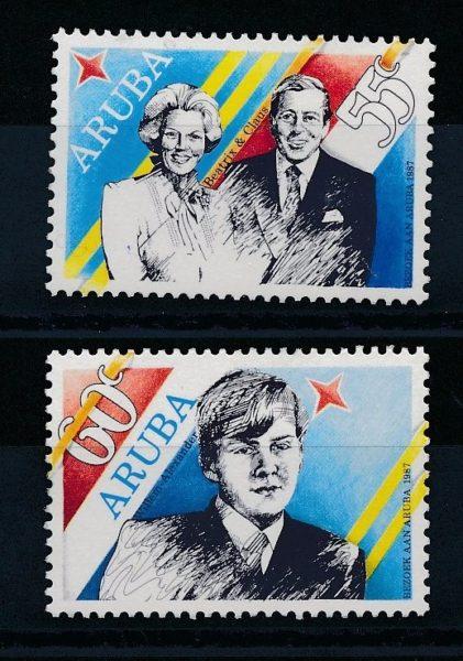 Aruba 1987 Bezoek Aruba NVPH 22-23 1