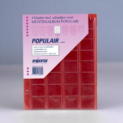 Importa 32-vaks populair muntbladen - voor complete euro series - met rode schutbladen