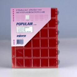 Importa 30-vaks populair muntbladen - voor o.a. 2 euro munten - met rode schutbladen