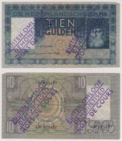 Nederland 1933 10 Gulden Bankbiljet Grijsaard Buiten Omloop