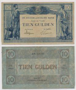 Nederland 1921 10 Gulden Bankbiljet Arbeid en Welvaart type II