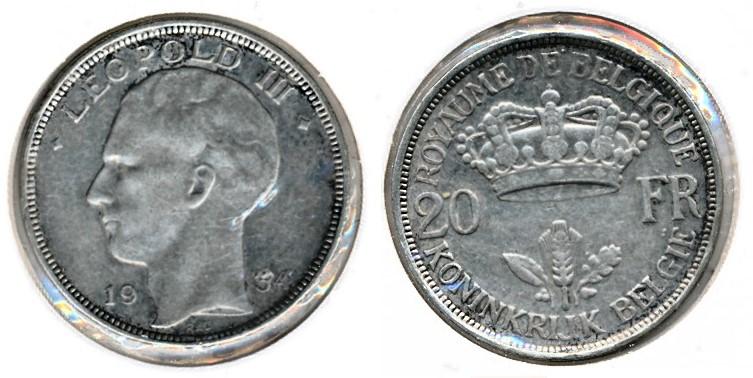Belgie 1934 20 Frank Fr Ned Europost
