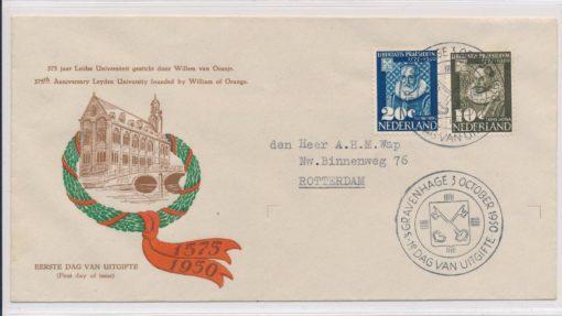 Nederland  1950 FDC Leidse Universiteit met getypt adres E3 1