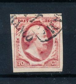 Nederland 1852 Koning Willem III - 10 ct rood plaat V NVPH 2i