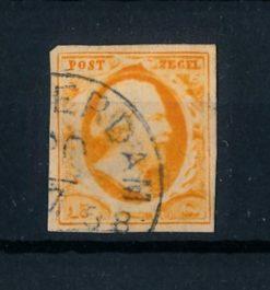 Nederland 1852 Koning Willem III - 15 ct oranje NVPH 3