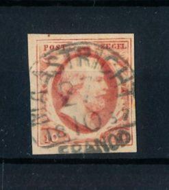 Nederland 1852 Koning Willem III - 10 ct donkerrood plaat V NVPH 2f