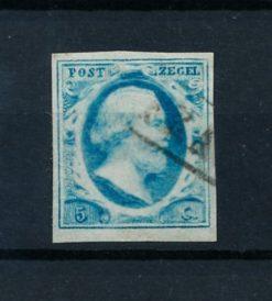 Nederland 1852 Koning Willem III - 5 ct helderblauw plaat IV NVPH 1l